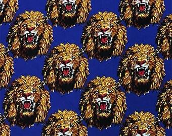 BLUE Isiagu Traditional Nigerian Fabric | Exotic Lion Head Print | Quality Wool Texture | Chieftaincy Feni | By the Yard | Harcourt Fabrics