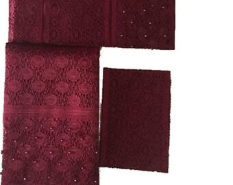 Burgundy Fancy Beaded Lace Aso-Oke - 3 Piece Gele Headtie / Ipele Shoulder Set