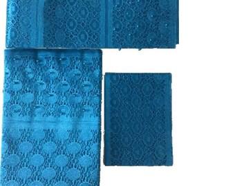 Turquoise Blue Fancy Beaded Lace Aso-Oke - 3 Piece Gele Headtie / Ipele Shoulder Set