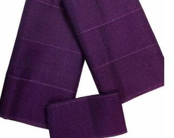 Purple Plain Textured Aso-Oke - 3 Piece Gele Headtie / Ipele Shoulder Set