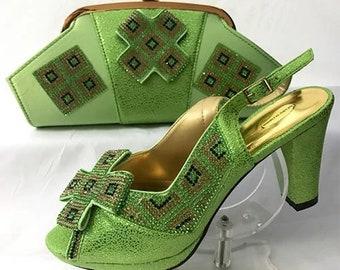 Italian Design Open Toe Shoes w/ Matching Clutch Bag - Lime Green (US Size 11 - 3.5 inch heel)