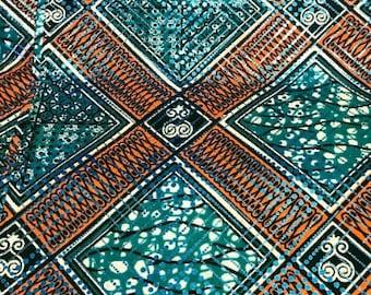 Premium Ankara Print Fabric - Blue Metallic Foil (HF034)