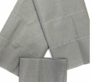 Silver Plain Textured Aso-Oke - 3 Piece Gele Headtie / Ipele Shoulder Set