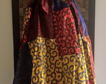 Ankara Print Red, Blue, and Yellow Whimsical Full Length Skirt (Elastic Waist) - XXL