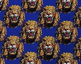 Isi-Agu Lion Head Traditional Nigerian Fabric - Royal Blue (HF2)