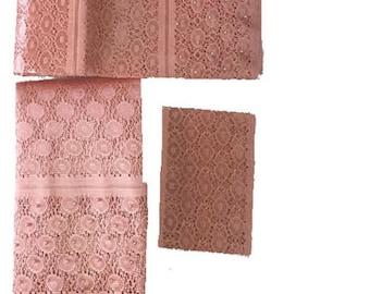 Peach Fancy Beaded Lace Aso-Oke - 3 Piece Gele Headtie / Ipele Shoulder Set
