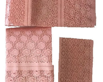 Textured Aso-Oke (Peach) - 3 Piece Gele Set