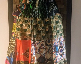 Ankara Print Patchwork Multicolor #17 Full Skirt M/L