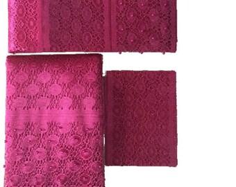 Hot Pink Fancy Beaded Lace Aso-Oke - 3 Piece Gele Headtie / Ipele Shoulder Set