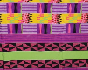 Premium Ankara Print KENTE Fabric - 3 or 6 yards (HF214)