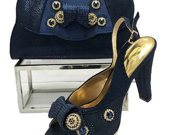 Italian Design Open Toe Shoes w/ Matching Clutch Bag - Navy Blue (US Size 12 - 4.5 inch heel)