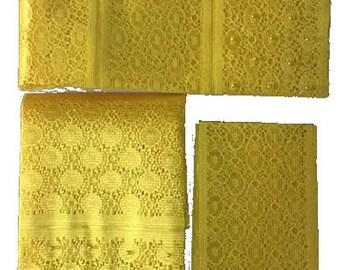 Textured Aso-Oke (Yellow) - 3 Piece Gele Set