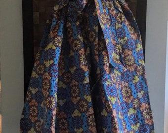 Ankara Print Blue Lady Full Length Skirt (Elastic Waist) - M/L