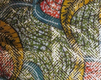 Premium Ankara Print Fabric - Gold Metallic Foil (HF026)