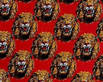 RED Isiagu Traditional Nigerian Fabric | Exotic Lion Head Print | Quality Wool Texture | Chieftaincy Feni | By the Yard | Harcourt Fabrics