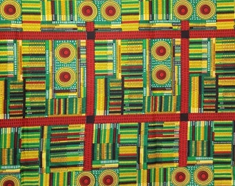 Premium Ankara Print KENTE Fabric - 3 or 6 yards (HF193)