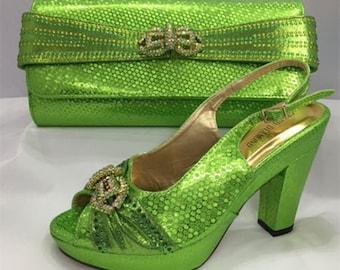 Italian Design Open Toe Shoes w/ Matching Clutch Bag - Lemon Green (US Size 11, 12)