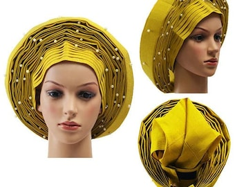 Pre-tied Gele - Yellow