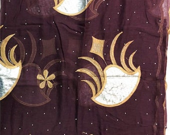 Cotton Embroidered Hijab Headscarf - Plum/Gold