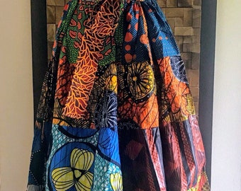 Ankara Print Patchwork Multicolor #11 Full Skirt M/L