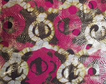 Premium Ankara Print Fabric - Gold Metallic Foil (HF025)