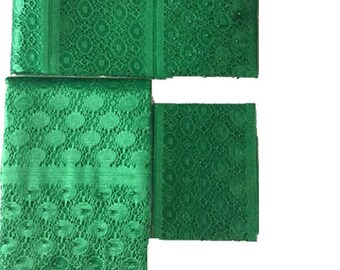 Green Fancy Beaded Lace Aso-Oke - 3 Piece Gele Headtie / Ipele Shoulder Set