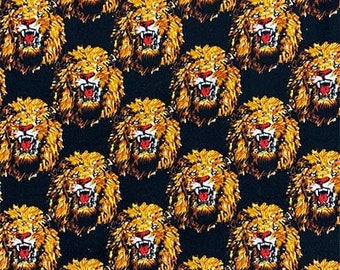 Amatiye Isi-agu Lion Head Feni Traditional Wool Fabric - Black (HF7) - 19.99/yd