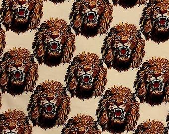 CREAM Isiagu Traditional Nigerian Fabric | Exotic Lion Head Print | Quality Wool Texture | Chieftaincy Feni | By the Yard | Harcourt Fabrics