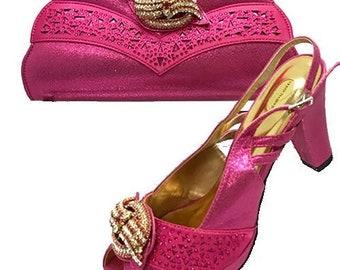 Italian Design Open Toe Shoes w/ Matching Clutch Bag - Fuschia (US Size 7, 8, 10, 11 - 3.5 inch heel)