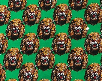 Amatiye Isi-agu Lion Head Feni Traditional Wool Fabric - Green (HF6) - 19.99/yd