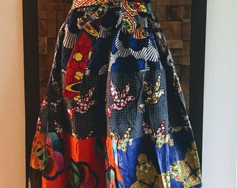 Ankara Print Patchwork Multicolor #10 Full Skirt M/L