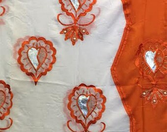 Cotton Embroidered Hijab Headscarf - Orange/White
