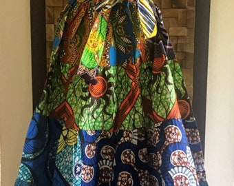 Ankara Print Patchwork Multicolor #24 Full Skirt M/L