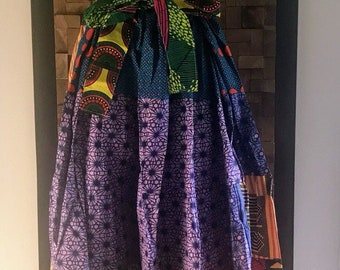 Ankara Print Patchwork Multicolor #18 Full Skirt M/L