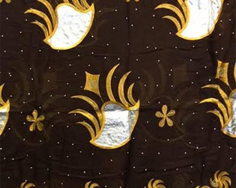 Cotton Embroidered Hijab Headscarf - Brown/Gold
