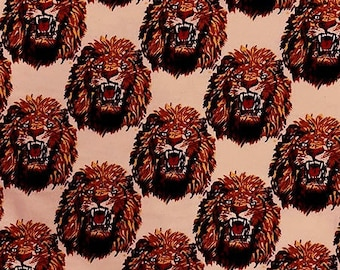 Amatiye Isi-agu Lion Head Feni Traditional Wool Fabric - Peach (HF1) - 19.99/yd
