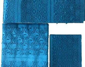 Textured Aso-Oke (Turquoise Blue) - 3 Piece Gele Set