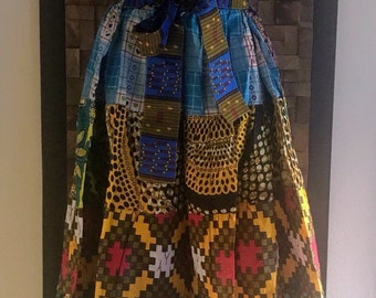 Ankara Print Patchwork Multicolor #16 Full Skirt M/L