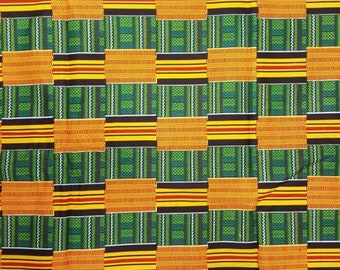 Premium Ankara Print KENTE Fabric - 3 or 6 yards (HF200)