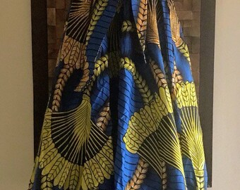 Ankara Print Blue & Yellow Wheat Full Length Skirt (Elastic Waist) - M/L