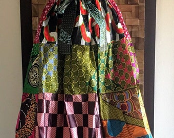 Ankara Print Patchwork Multicolor #15 Full Skirt M/L