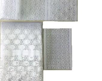 White Fancy Beaded Lace Aso-Oke - 3 Piece Gele Headtie / Ipele Shoulder Set