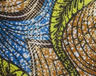 Premium Ankara Print Fabric - Gold Metallic Foil (HF032)