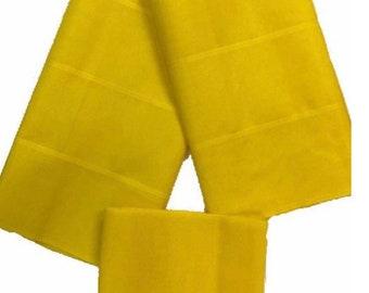 Yellow Plain Textured Aso-Oke - 3 Piece Gele Headtie / Ipele Shoulder Set