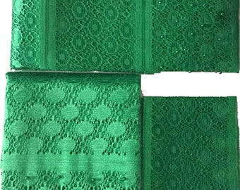 Textured Aso-Oke (Green) - 3 Piece Gele Set