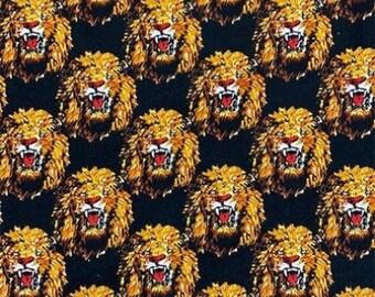 Isi-Agu Lion Head Traditional Nigerian Fabric - Black (HF7)