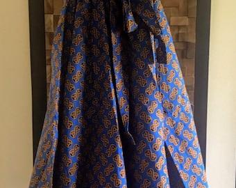 Ankara Print Royal Blue & Gold Infinity Symbol Full Length Skirt (Elastic Waist) - M/L