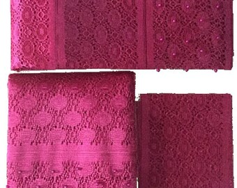 Textured Aso-Oke (Hot Pink) - 3 Piece Gele Set