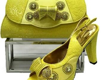 Italian Design Open Toe Shoes w/ Matching Clutch Bag - Yellow (US Size 6, 10, 11, 12 - 4.5 inch heel))