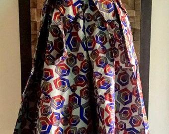 Ankara Print Red & Blue Hexagon Full Skirt (Elastic Waist) - M/L